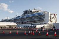 The quarantined cruise ship Diamond Princess is anchored at the Yokohama Port in Yokohama, on Feb. 18, 2020. (AP Photo/Koji Sasahara)