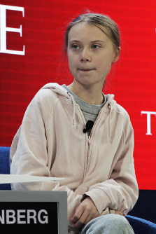 In this Jan. 21, 2020, file photo, Swedish environmental activist Greta Thunberg is seen at the opening session of the World Economic Forum in Davos, Switzerland. (AP Photo/Markus Schreiber)