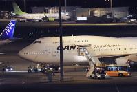 Chartered aircraft for Australian citizens evacuated from the cruise ship Diamond Princess at Tokyo's Haneda airport in Tokyo, on Feb. 19, 2020 (AP Photo/Koji Sasahara)