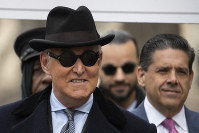 Roger Stone arrives for his sentencing at federal court in Washington, on Feb. 20, 2020. (AP Photo/Manuel Balce Ceneta)