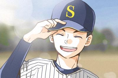 センバツ出場を祝ってそやままいさんが描いた明石商野球部のイラスト=そやまさん提供