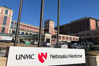The building housing the biocontainment unit at Nebraska Medical Center is seen in Omaha, Nebraska, on Feb. 18, 2020. (AP Photo/Josh Funk)