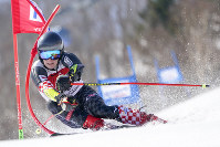 Flip Zubcic of Croatia competes in the men's giant slalom during the FIS Alpine Ski World Cup at Naeba Ski Resort in Yuzawa, Niigata Prefecture, northern Japan, on Feb. 22, 2020. (AP Photo/Christopher Jue)
