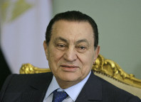 In this April 2, 2008 file photo, Egyptian President Hosni Mubarak looks attends a meeting at the Presidential palace, in Cairo, Egypt. (AP Photo/Amr Nabil)