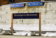 The name plaque of the Brenner train station stands at the border between Austrian and Italy at the Brenner Pass, Italy, on Feb. 23, 2020. (AP Photo/Matthias Schrader)