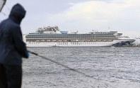 This photo taken Feb. 22, 2020, shows the coronavirus-hit Diamond Princess cruise ship at Yokohama Port. (Kyodo)