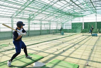 室内練習場で打撃練習に励む選手たち=北海道芽室町で