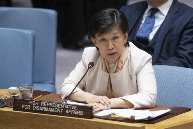 国連安全保障理事会で発言する中満泉・国連事務次長=米ニューヨークの国連本部で2019年4月2日(国連提供)