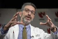 Dr. Andre Kalil, of the University of Nebraska Medical Center, speaks in Omaha, Neb., on Feb. 25, 2020. (AP Photo/Nati Harnik)