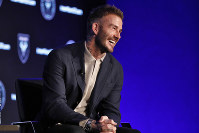 David Beckham, Inter Miami CF co-owner, is interviewed during the Major League Soccer 25th Season kickoff event in New York, on Feb. 26, 2020. (AP Photo/Richard Drew)