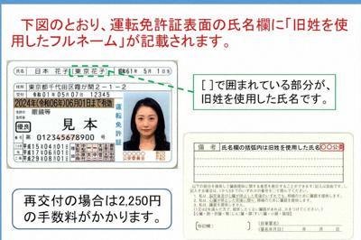 運転免許証の旧姓併記を紹介する警察庁のウェブサイト