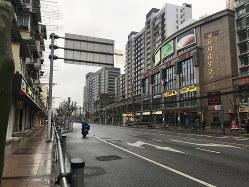 春節休暇中の閑散とした上海市街(筆者撮影)