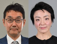 This combined file photo shows former Justice Minister Katsuyuki Kawai, left, and his wife Anri Kawai, who won a House of Councillors seat in July 2019. (Mainichi)