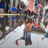 今月避難指示が一部解除された富岡町などで常磐線の運転が再開され、雨が降る夜ノ森駅で、名所の桜並木をイメージしたピンク色の傘やタオルを手によさこい踊りで列車を迎える人たち=福島県富岡町で2020年3月14日午前10時22分、和田大典撮影