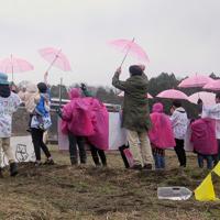 今月避難指示が一部解除された富岡町などで常磐線の運転が再開され、名所の桜並木をイメージしたピンク色の傘や横断幕を手に、沿線で特急ひたちに「おかえり」と呼びかける人たち=福島県富岡町で2020年3月14日午前11時8分、和田大典撮影