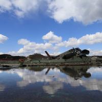 被災から時間がたちがれきの撤去が進む宮城県南三陸町=2011年3月23日午後1時、梅村直承撮影