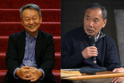 文芸評論家の加藤典洋さん(左)と作家の村上春樹さん