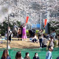 「宴席禁止」の張り紙がある中、小さなシートを広げて桜を楽しむ人たち=東京都台東区の上野公園で2020年3月21日午後1時39分、小川昌宏撮影