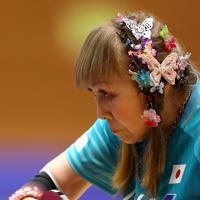 女子シングルスで2位になった別所キミヱさん=東京都港区スポーツセンターで2019年8月2日、佐々木順一撮影