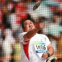 北京パラリンピックで銅メダルを獲得した大井利江選手=国家体育場で2008年9月14日、小出洋平撮影