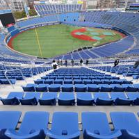 レフト側ウイング席を増設し、リニューアルを終えた東京五輪の野球・ソフトボール決勝会場の横浜スタジアム=横浜市中区で2020年3月23日、宮武祐希撮影