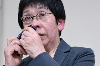 Kaoru Irikura, director of the Tsukui Yamayuri En care facility for people with intellectual disabilities, responds to questions from reporters while wiping away tears at a press conference after Satoshi Uematsu, who killed 19 residents at the facility, was sentenced to death on March 16, 2020. (Mainichi/Kaho Kitayama)