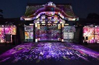 Images themed on cherry blossoms are projected onto the Karamon gate of Kyoto's famed Nijo Castle on the evening of March 20, 2020, delighting visitors to the World Heritage site. (Mainichi/Ai Kawahira)