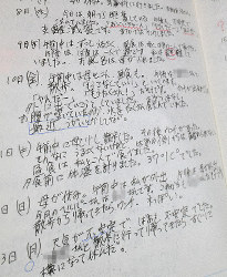 A page from a care diary kept by a Sendai man while he nursed his grandmother for seven years starting in his mid-teens. (Mainichi, image partially modified)