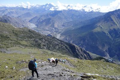 マルファ村からベースキャンプに向かうキャラバン途上、標高4300m付近=19年9月20日、藤原章生撮影