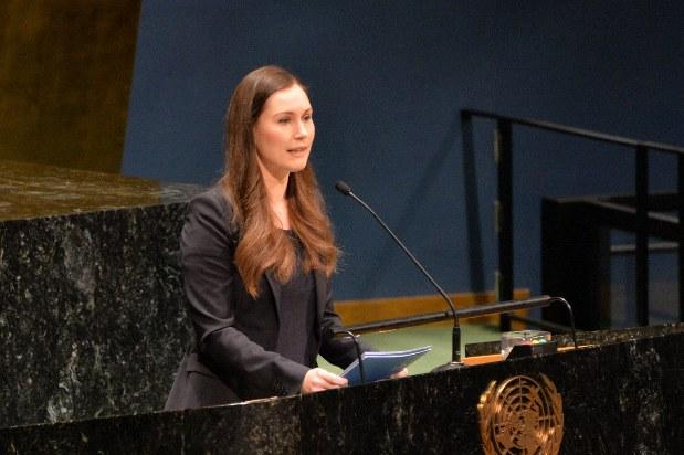 国際女性デーに関するイベントで演説するフィンランドのサンナ・マリン首相=米ニューヨークの国連本部で2020年3月6日、隅俊之撮影