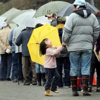 傘をさして朝食の炊き出しに並びながら、「遊びに行こう」と父親の袖を引っ張る娘。支援物資でもらった子供用の傘を持てるだけで楽しい=岩手県大槌町で2011年4月9日午前7時2分、小川昌宏撮影