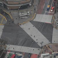 閑散とする渋谷のスクランブル交差点=東京都渋谷区で2020年3月28日午前10時21分、本社ヘリから宮武祐希撮影