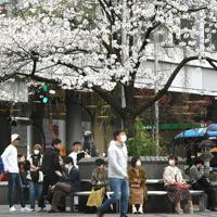 新型コロナウイルスの感染拡大を受けた「外出自粛」が始まったものの、多くの人が集まるJR渋谷駅前のハチ公像(奥中央)の周辺=東京都渋谷区で2020年3月28日午後2時9分、竹内紀臣撮影