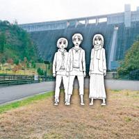 日田市の大山ダム前に設置されるエレン(中央)らの銅像のイメージ ©諫山創/講談社