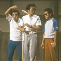 「8時だヨ!全員集合」のリハーサルでのザ・ドリフターズ。左から仲本工事さん、志村けんさん、いかりや長介さん、加藤茶さん、高木ブーさん=1985年9月、木村滋撮影