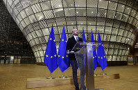 European Council President Charles Michel speaks during a media conference after an EU summit by video conference in Brussels, on March 26, 2020. (Francois Walschaerts, Pool Photo via AP)