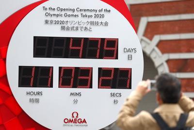 来年7月23日に予定される開会式までの残り日数が再び表示された東京五輪のカウントダウン時計=JR東京駅前で2020年3月31日午前、喜屋武真之介撮影