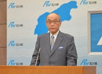 Ishikawa Gov. Masanori Tanimoto is seen at a press conference in Kanazawa, Ishikawa Prefecture, on March 31, 2020. (Mainichi/Hirotaka Abe)