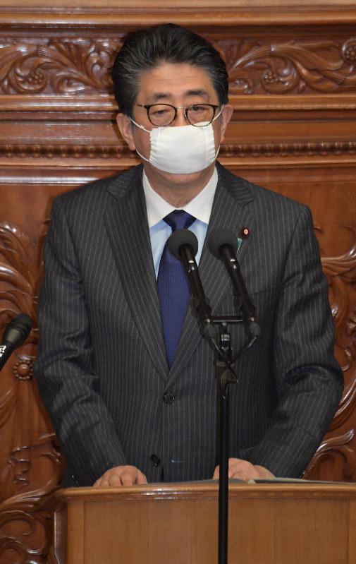 安倍 晋三 マスク 写真