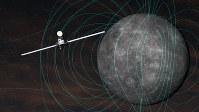 日本の水星磁気圏探査機「みお」が水星を観測しているイメージ図=宇宙航空研究開発機構提供