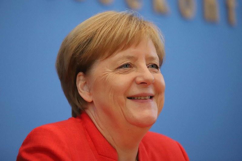 首脳会談や記者会見などで常に余裕のある笑顔を見せるドイツのメルケル首相 =ベルリンで2018年7月20日、ベルリン支局助手メルリン・ズグエ撮影