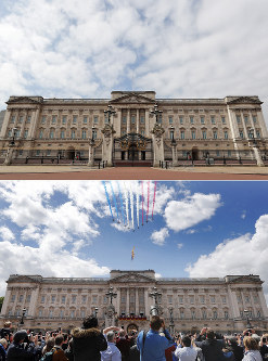 A combo of images showing the Red Arrows flying over Buckingham Palace during the annual Trooping the Colour Ceremony in London on Saturday, June 8, 2019 and the the empty scene taken from the same angle on Wednesday, April 1, 2020. (AP Photo/Frank Augstein)
