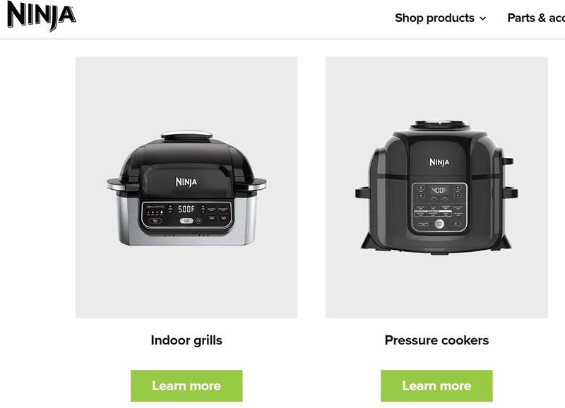 圧力鍋などを展開する「ニンジャ」ブランドのホームページ