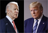 In this combination of file photos, former Vice President Joe Biden speaks in Wilmington, Del., on March 12, 2020, left, and President Donald Trump speaks at the White House in Washington on April 5, 2020. (AP Photo)