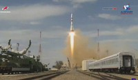 In this grab taken from video footage released by the Roscosmos Space Agency, the Soyuz-2.1a rocket booster with Soyuz MS-16 spaceship carrying a new crew to the International Space Station, ISS, blasts off at the Russian leased Baikonur Cosmodrome, Kazakhstan, on April 9, 2020. (Roscosmos Space Agency via AP)