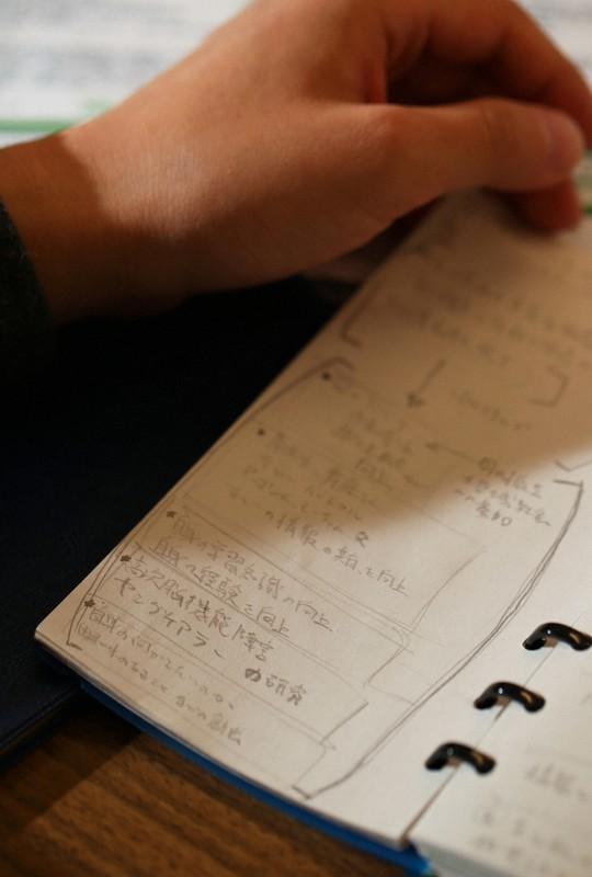 ヤングケアラーだった男性が就職活動の準備として手帳に書いたメモ。「自分が何が好きで、何ができるのかを考える時間が周りより圧倒的に少なかったな、と」=東京都千代田区で、小川昌宏撮影