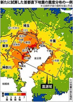 文部科学省の研究チームが公表した「東京港北部地震」の震度予想分布の一例。四角形は地下の震源断層を示す(2012年3月31日付『毎日新聞』より)