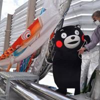 ロープを引っ張りこいのぼりを揚げるくまモン=熊本市中央区の県庁で2020年4月23日午前10時4分、城島勇人撮影