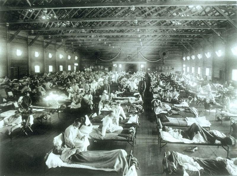 米カンザス州の軍施設に隔離されたスペイン風邪の感染者(1918年)
