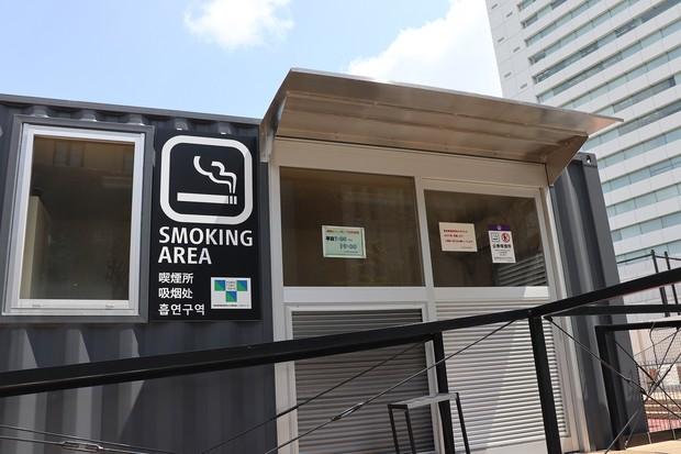 九段下の喫煙所。コロナ禍の影響で閉鎖されている